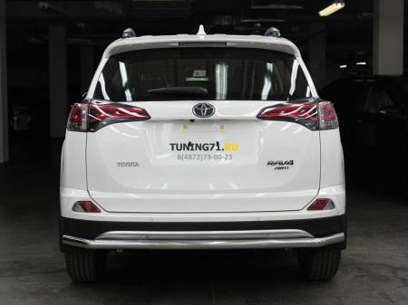 Защита заднего бампера одинарная d-53 радиусная Toyota Rav-4 2015-наст.вр.
